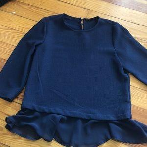 Zara basics navy blouse